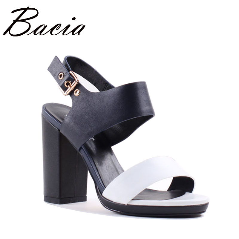 Bacia 10 cm Haute talons chaussures femme 2017 Peau de Mouton + Vache en cuir Blanc Bleu Femmes Géométrique Chaussures Pompes Russe taille 33-40 SA038