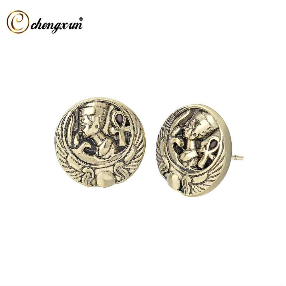 CHENGXUN Vitange Earring Egypt Pharaoh Nefertiti Scarab Queen Ancient Jewelry Stud Earrings Female Gifts Fem
