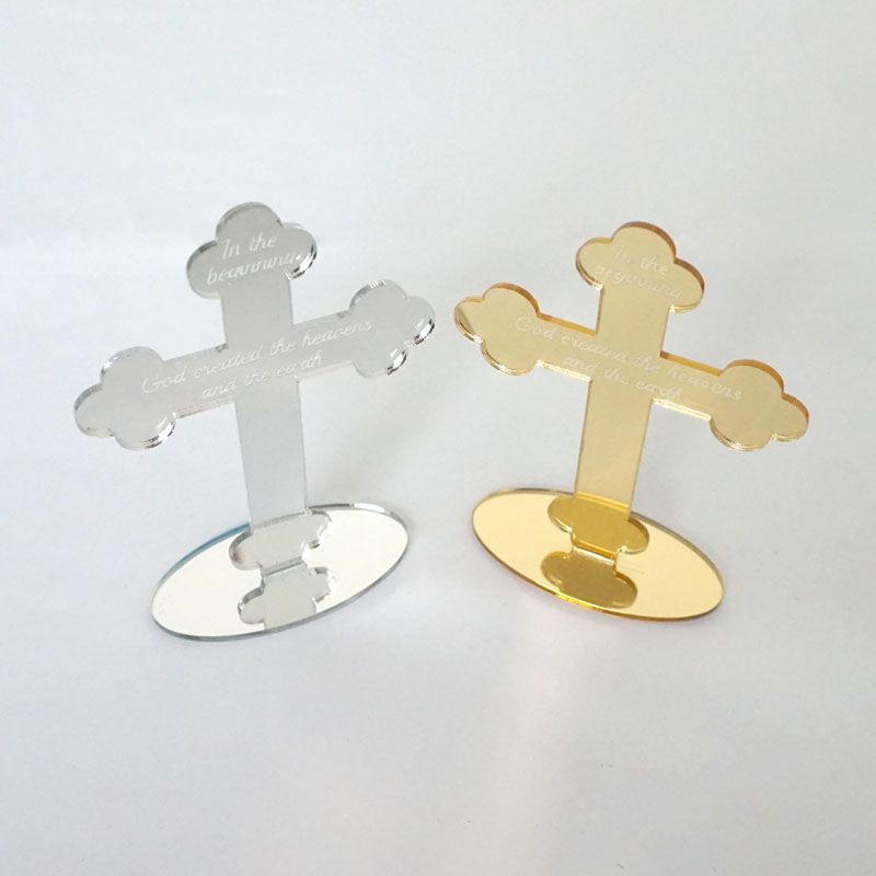 10pcs Mirror Cross For Table 12cm High Personalized God Bless Of The Lord's Prayer For Christening & Baptism House Moving
