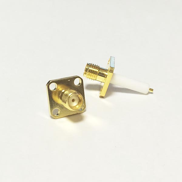 1pc NEW SMA Female Jack RF Coax Modem Convertor Connector 4-hole Flange Solder Post Straight Insulator Long 15mm Goldplated