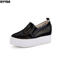 RYVBA Women Round Toe Loafers 2018 Summer Shoes Woman Flats Womens Black Cut Outs Casual Shoes