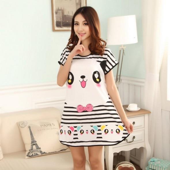 53f2423b9d NEW Cartoon Short sleeves women nightgown sleepwear Panda pyjama 100% cotton  women sleep dress plus size-in Nightgowns   Sleepshirts from Underwear ...