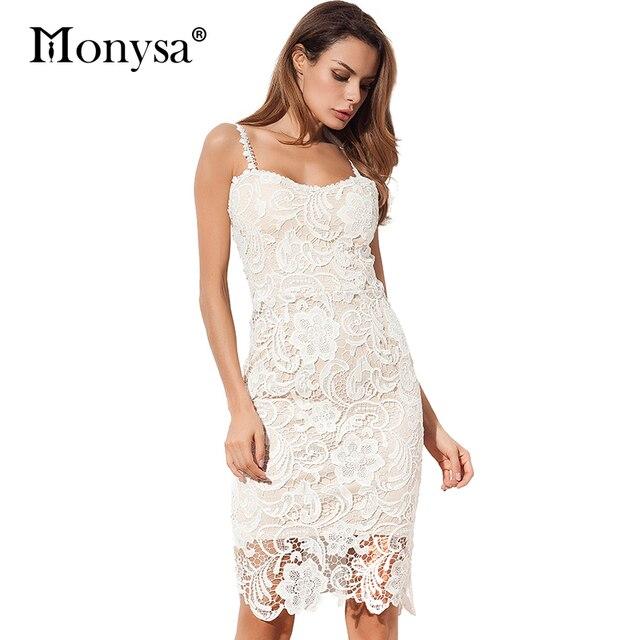 71270dfbc4 Bandage Dresses Party Women New Arrival Elegant Sleeveless Crochet Lace  Dress White Black Women Bodycon Dress Summer 2017