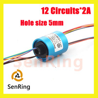 U Type Mini Bore Size 5mm 12 Circuits Wires Contact Of Capsule Slip Ring Without Flange