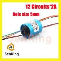 Anel coletor Senring U tipo mini tamanho do furo 5mm 12 circuitos/fios de contato do anel cápsula deslizamento sem flange