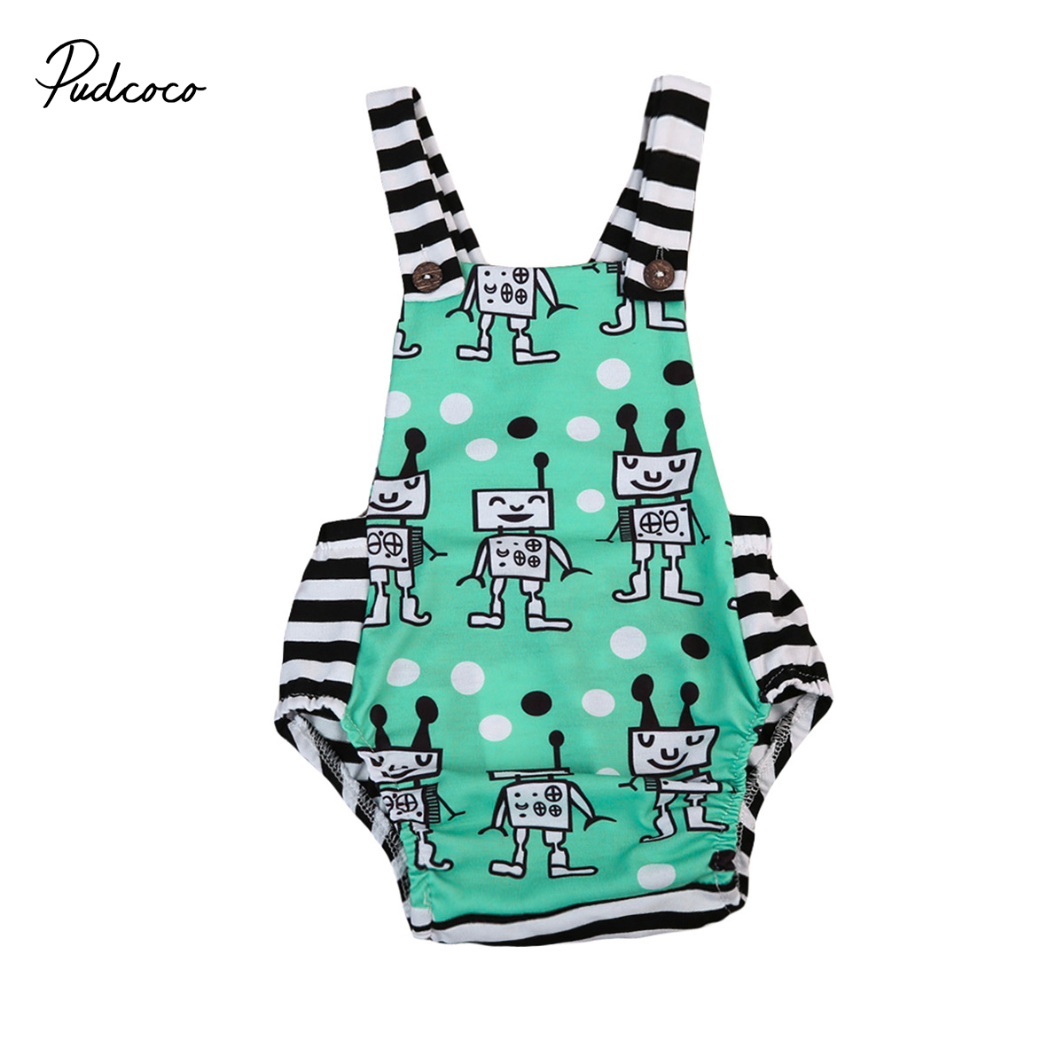 2017 sleeveless baby boy girl   romper   cute robot pattern striped backless newborn infant baby   romper   kid baby clothing outfits
