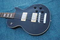 Factory Custom Black 4 strings LP Electric Bass Guitar,Top quality silver hardware LP guitar Bass,Free shipping