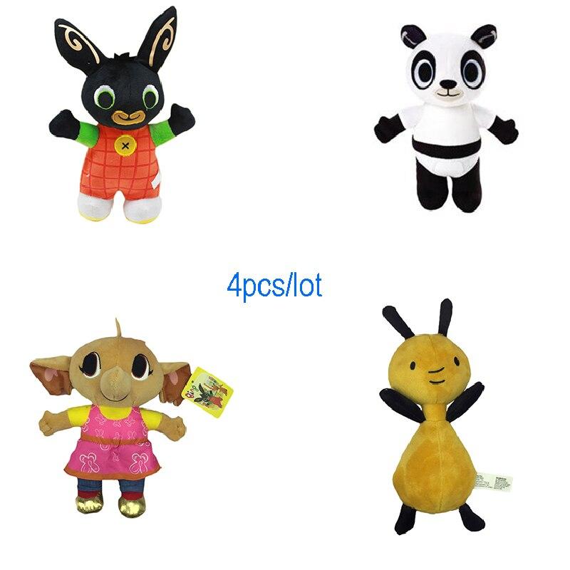 4 pcs/Lot 25-30 cm dessin animé doux Bing lapin jouet Anime animaux en peluche poupée en peluche Sula Elepant renard licorne pour filles cadeaux