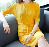 Casual straight solid short with beading empire v neck knee length summer personal dress