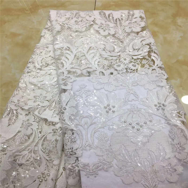 Cassiel French Net Lace Fabric White Color Latest African Guipure Lace Fabric With Embroidery Mesh Tulle Sequins Lace Fabric