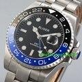 43mm Bliger Azul GMT Mão Mens Relógio Automático Mostrador Preto de Cerâmica Moldura relógios de Pulso Vidro de Safira Pulseira SS Relógio BA4304SBL