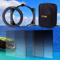 Zomei 150*100mm GND ND2 ND4 ND8 ND16 densité neutre filtre carré + porte-filtre 16 pièces boîtier adaptateur bague 67mm 72mm 77mm 82mm