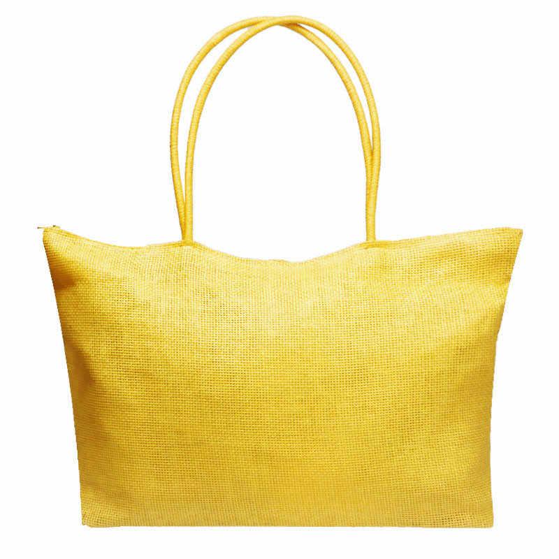 Maison Fabre sacchetto femminile 2018 di nuovo Modo Semplice di Colore Della Caramella di Grandi Dimensioni Della Spiaggia Della Paglia Borse Delle Donne del Sacchetto di Spalla di Casual July5 40