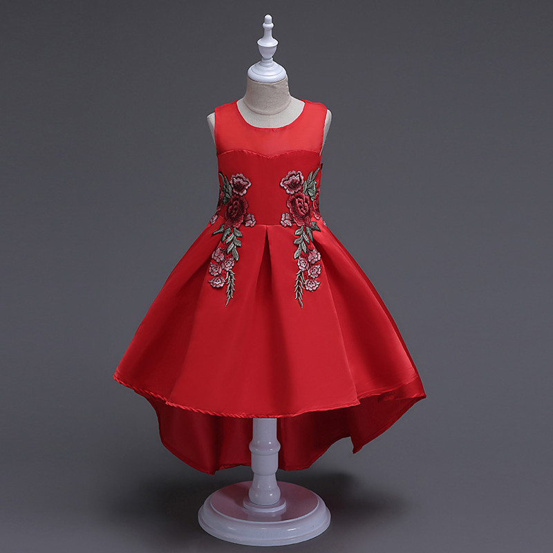 Flower Girl Dress Red Mesh Trailing Butterfly Girls Bridesmaid Wedding Dress Kids Ball Gown Embroidered Bow Party Dress girls princess dress for party and wedding bridesmaid red mesh trailing lace dress kids ball gown embroidered bow dress clothing