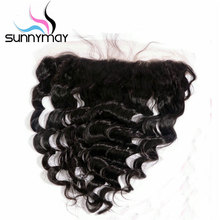 Sunnymay Brazilian Hair Loose Wave Natural Color Swiss Closure 13x4 Pre Plucked Human Hair Lace Frontal