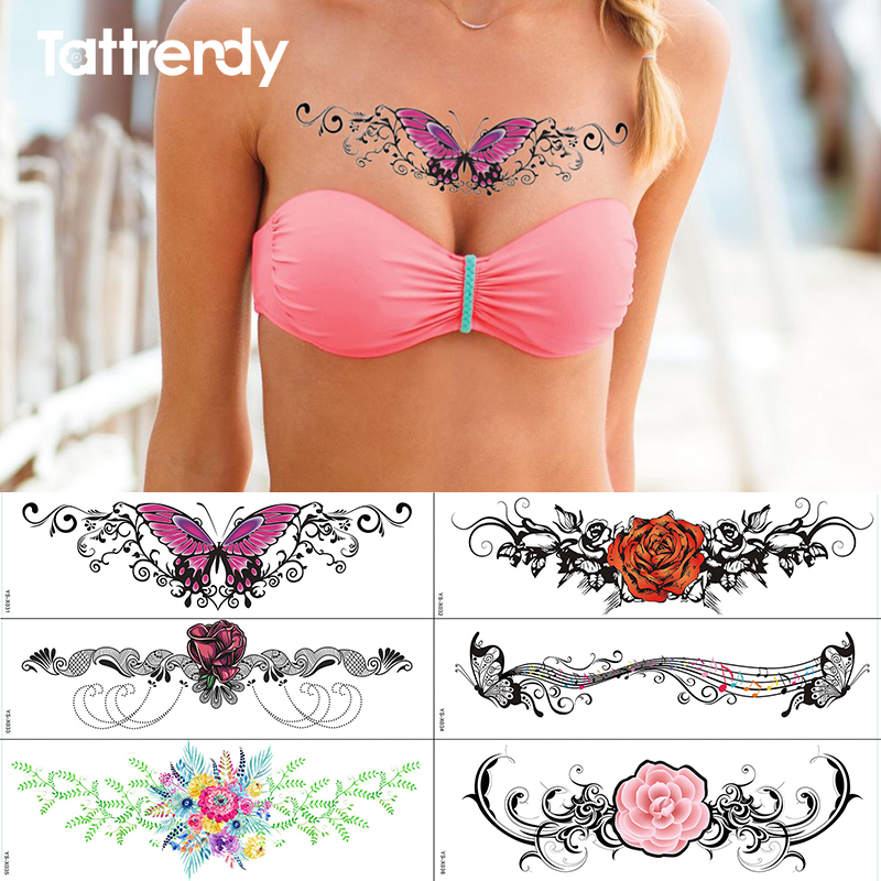 Under Breast Sternum Temporary Tattoo Rose Flowers Lace Diamond Pattern Body Chest Art Painting Fake Tattoos Sticker Waterproof