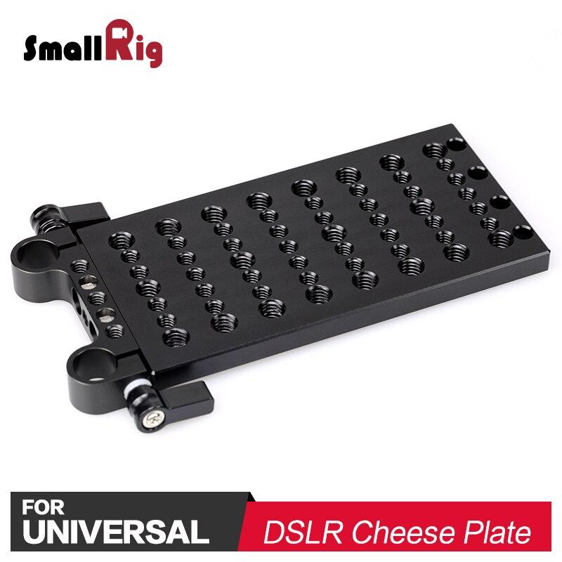 SmallRig DSLR Cámara queso placa con doble 15mm Abrazadera de varilla w/1/4 3/8 agujeros de rosca brazos de articulación, varillas, baterías DIY 1093