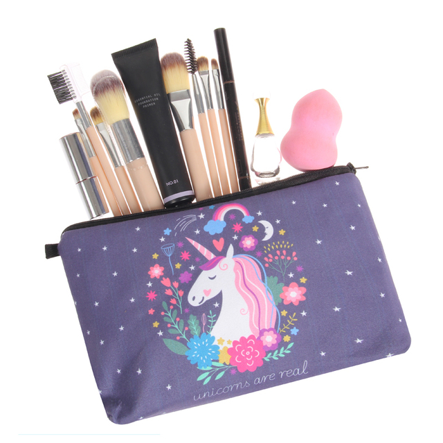 Unicorn Floral Printed Make-Up Cosmetic Bag