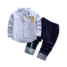 Boy 2-piece Suit Children Clothing Long-sleeved Solid Color Blue Pink Shirt + Denim Trousers free shipping new boy denim tiger costume cartoon boy costume boy clothing suit kids cotton long sleeved shirt denim trousers