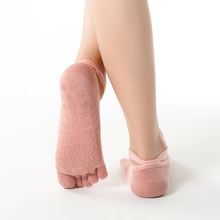 Hot Fitness And Pilates Cotton Socks Rainbow Workout Anti Slip Toe Breathable Purple Women Sports Colorful
