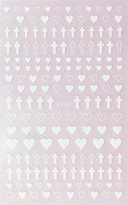 Image 3 - 1 ورقة 4 ألوان فارغة الصلبة الصليب شكل قلب ذاتية اللصق مسمار الفن ملصقات DIY بها بنفسك نصائح F333 #