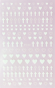 Image 3 - 1 Sheet 4 Colors Empty Solid Cross Heart Shape Self Adhesive Nail Art Stickers DIY Tips F333#