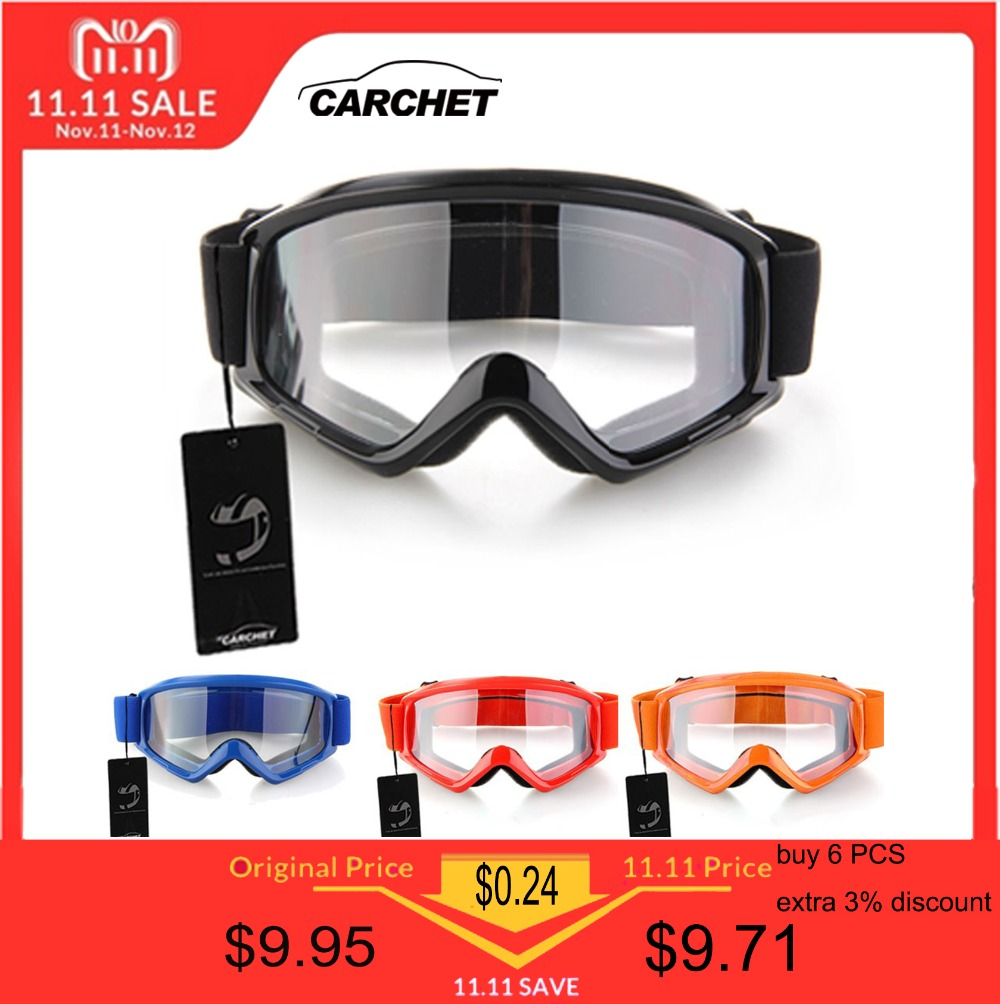 CARCHET Motocross Glasses Goggles Motorcycle Enduro Off-Road Hemlet  Windproof Glasses Goggles Clear Lenses Black da351bb5ee