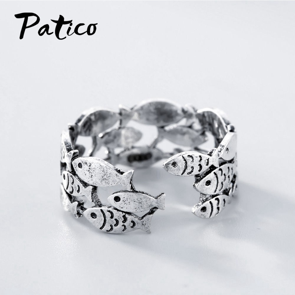 High Quality 925 Sterling Silver Top Vendeur Opening Adjustable Rings Women Wedding Lovely Fish Jewelry Finger Rings Boutique in Wedding Bands from Jewelry Accessories