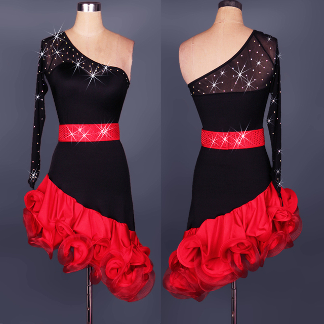 009224ac1bcab flower Latin Dance costumes Modern Dance Dresses rhinestone red/black chacha /Tango/samba/Rumba dance Competition Dress
