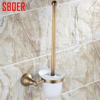 Europe Antique Toilet Brush Holder Durable Type Antique Brass Glass Cup Brass Brush Finish Toilet Brush