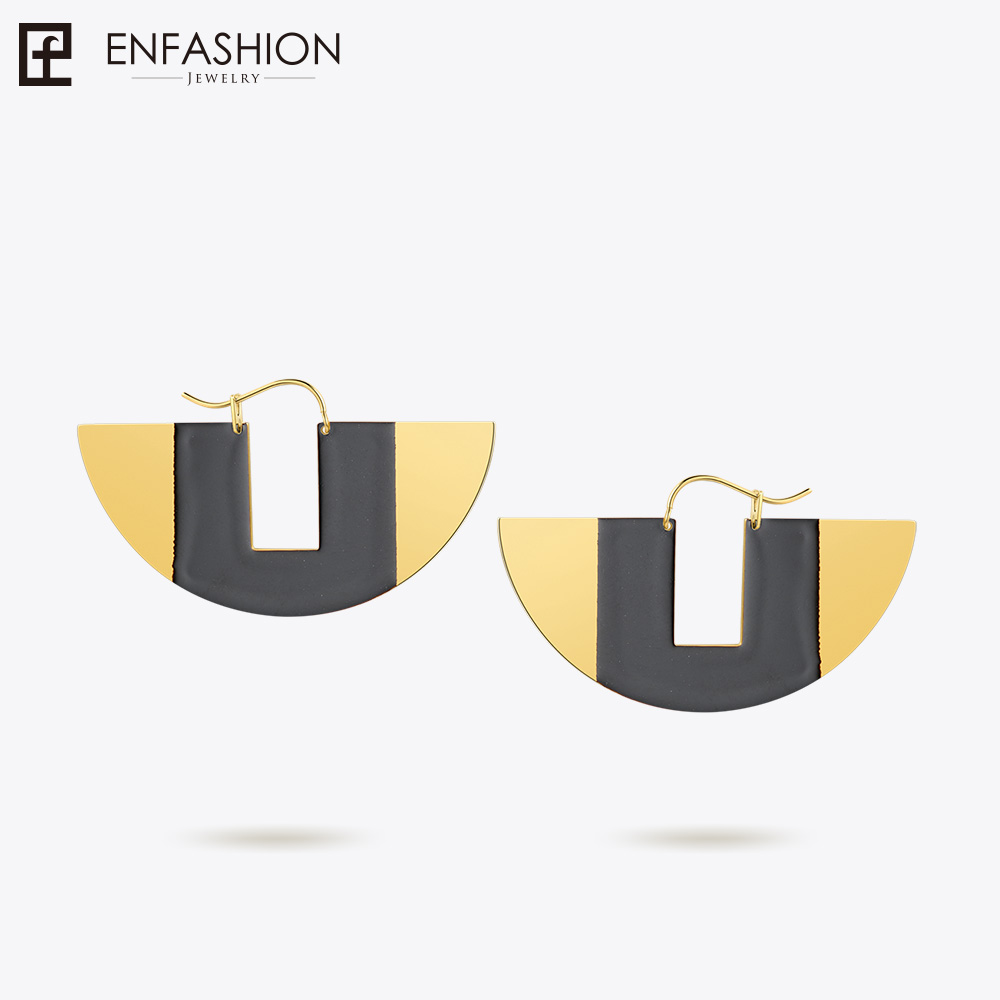 Enfashion Lacquer Art Series U Collar Drop Earrings Fan Shape Big Silver color Earrings for Women Earings oorbellen EBQ18LA39 недорго, оригинальная цена