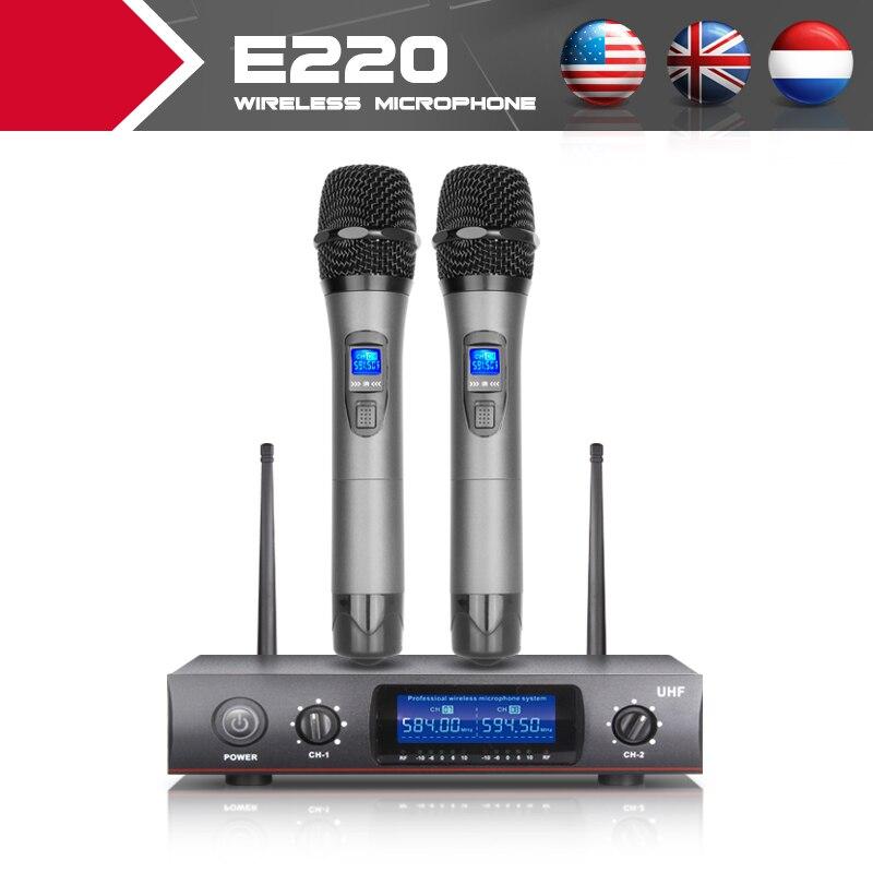 XTUGA Microfono Senza Fili Professionale E220 tutta in metallo LCD schermo di Controllo della Chiesa cantare karaoke a casa Parlando Suono di buona qualità