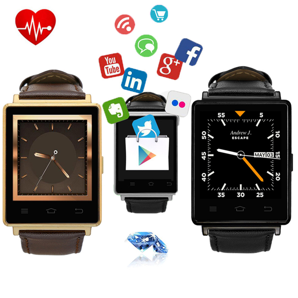 NO.1 D6 1GB RAM 8GB ROM MTK6580 Quad Core 1.63 Inch Screen Android 5.1 3G Smart Watch Support SIM card HeartRate Health GPS WIFI