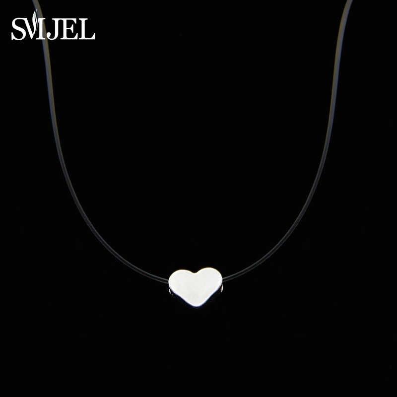 SMJEL petit coeur ras du cou colliers à la mode Invisible chaîne Collier étoile Femme Collier Femme Bijoux Bijoux