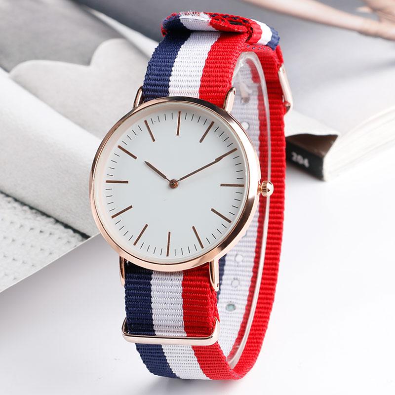 Fashion Minimalist Student Casual Simple Girl Wristwatch Quartz Blue&White&Red Stripe Nylon Nato Band Women Watches Relogio Gift