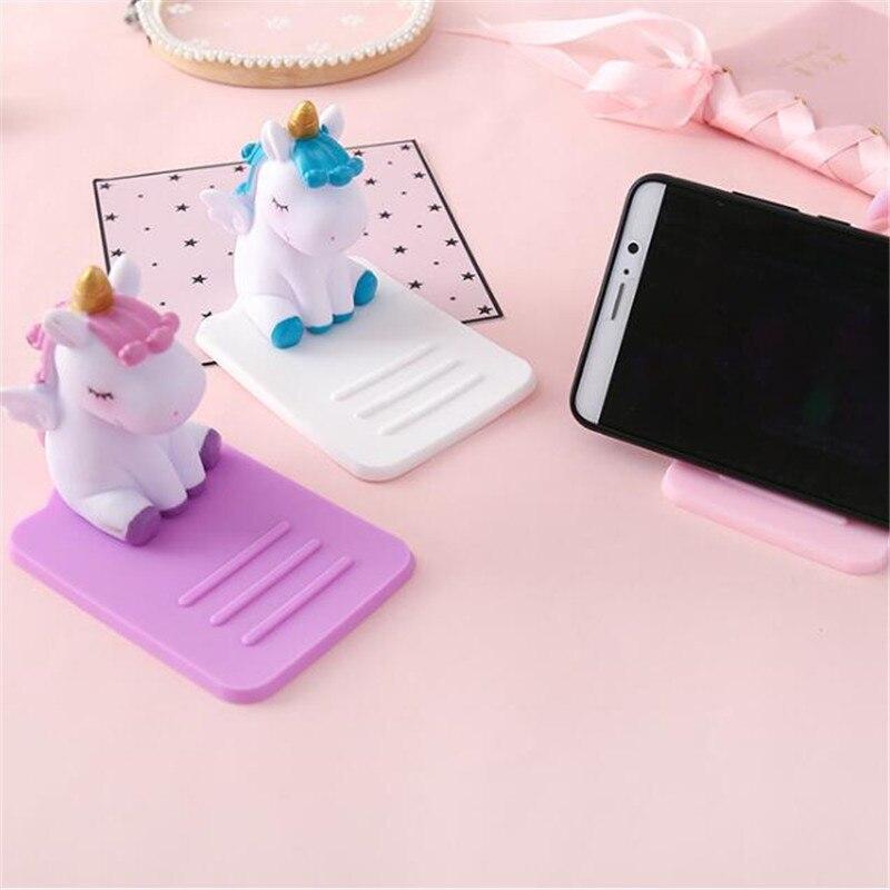 Cartoon Unicorn Phone Stand Bracket Base Mobile Phone Holder Support Desk Decor Anti-slip For IPhone Huawei Samsung
