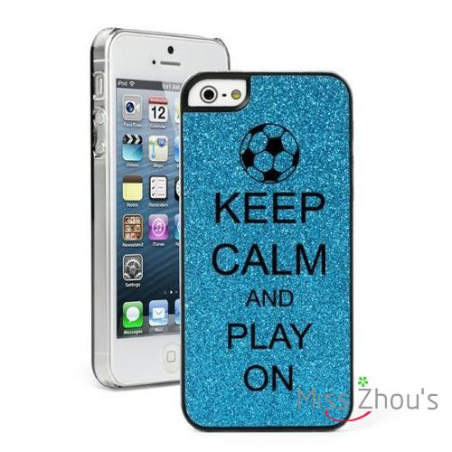 For iphone 4/4s 5/5s 5c SE 6/6s 7 plus ipod touch 4/5/6 back cellphone cases cover Keep Calm and Play On Soccer Glitter Bling