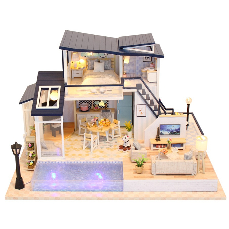 New Doll House Wooden Furniture Diy House Miniature Assemble 3D Miniatures Dollhouse Puzzle Kits Toys for Children Birthday Gi