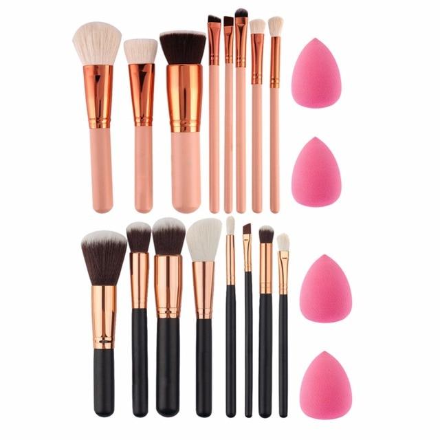 Мягкие 8 шт.. розовое золото кисти для макияжа Тени для век Пудра Румяна Fondation Кисть для макияжа инструмент шт. 2 шт. Губка Puff косметический набор простой в использовании