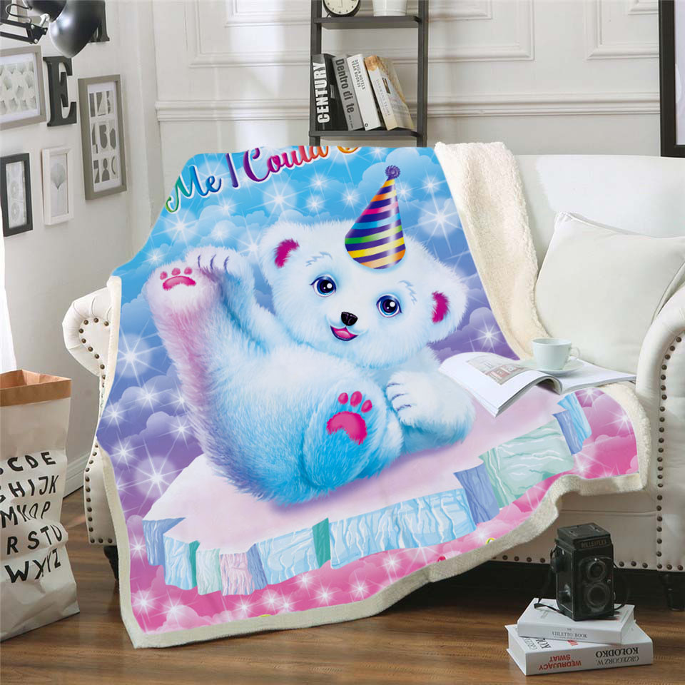 Plstar Cosmos Lisa and Frank Cartoon Blanket 3D print Sherpa on Bed Kids Girl Flower Home Textiles Dreamlike style-11