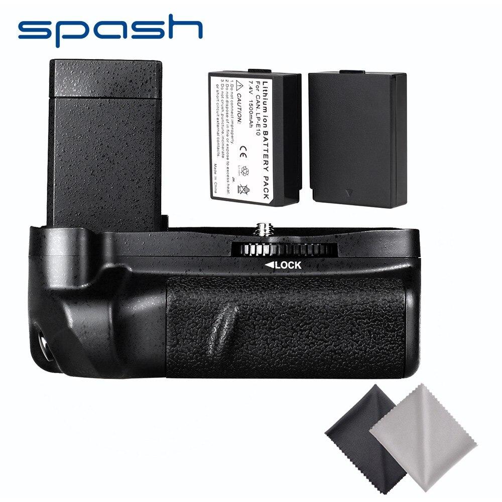 Spash pionowy uchwyt baterii z 2 sztuk LP-E10 baterie do Canon EOS 1100D 1200D 1300D EOS Rebel T5 T6 T3 pocałunek X50 zestaw baterii