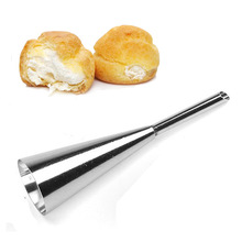 лучшая цена 1 PCS Stainless steel Puffs Cake Nozzles decorating mouth Crowded Flowers Mouth Crowded Puffs Cream Fillings Baking tools