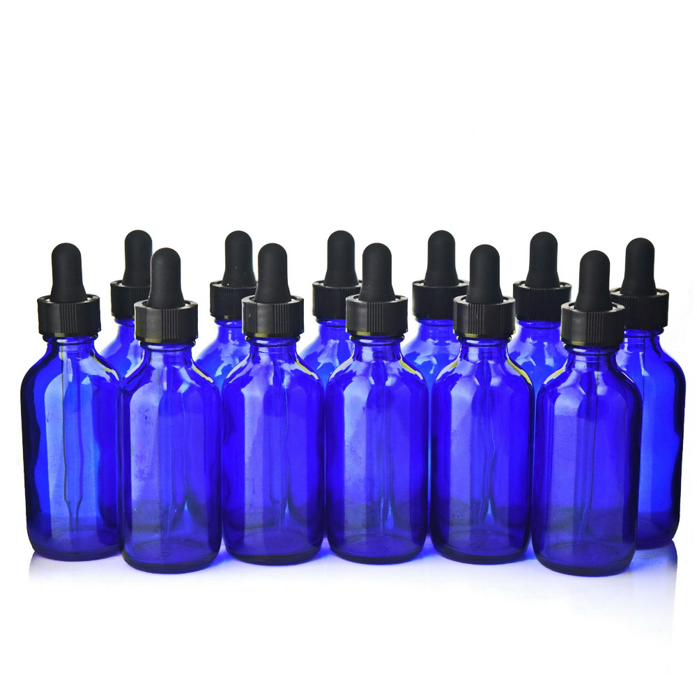 12pcs 2 Oz 60ml Cobalt Blue Glass Eye Dropper Bottles With Pipettes For Essential Oils Lab Chemicals Empty Cosmetic Containers