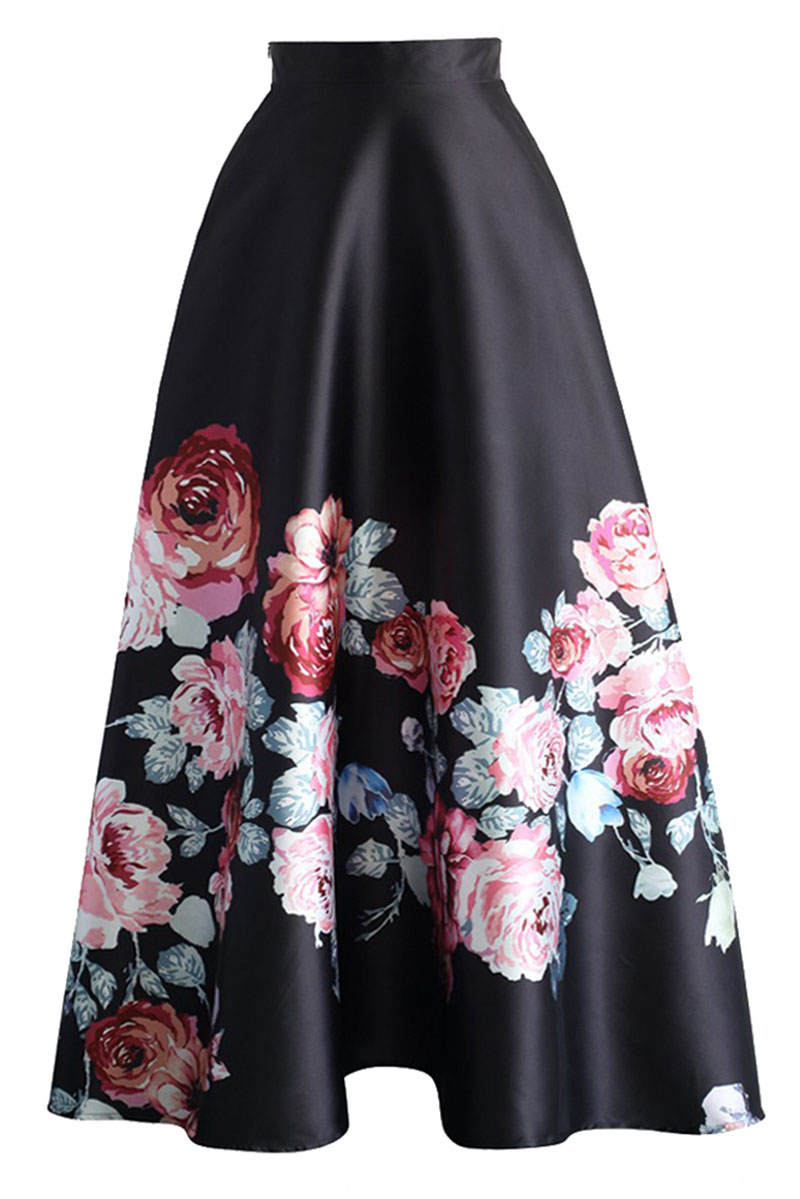 Blossoming-Black-High-Waist-Maxi-Skirt-LC65017-3-1