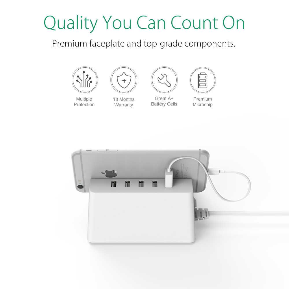 ORICO ODC biuro w domu 2 AC ue wtyczka listwa zasilająca z 5 porty USB ładowarka dla iPhone/iPad domu urządzenia-biały/czarny