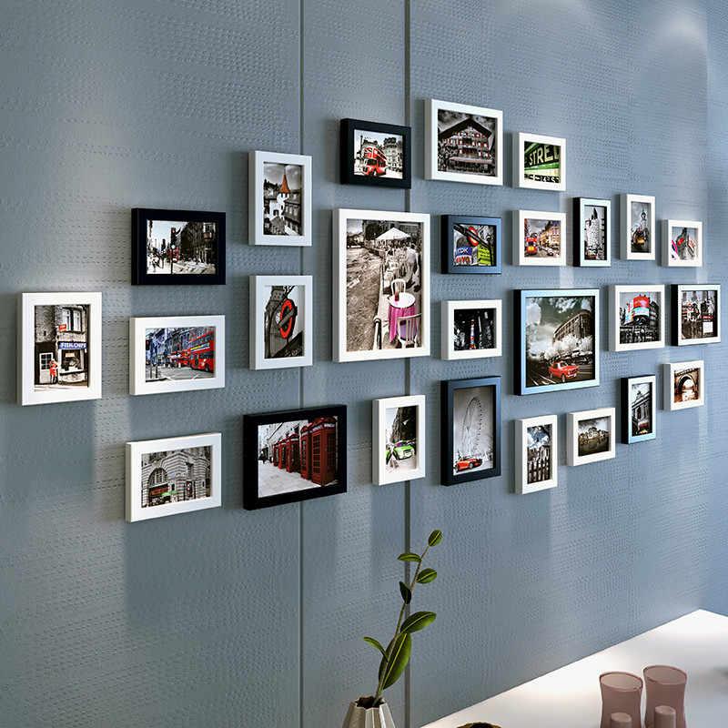 26pcs/set Multi Frame For Photos Rectangle Picture Frame For Wedding Decoration Wall Art Photo Frame quadros de parede para sala
