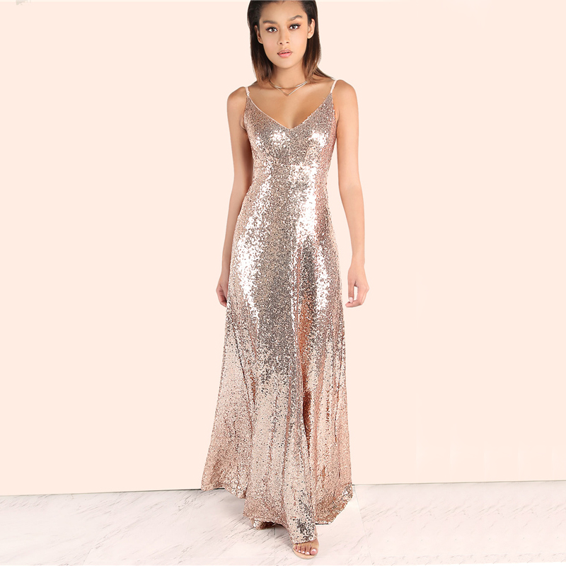 COLROVIE Rose Gold Sequin Party Maxi Dress 2017 Sexy Backless Slip Long Summer Dresses Women Empire Elegant A Line Club Dress 11