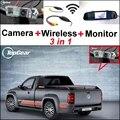 3 in1 Especial Cámara de Visión Trasera + Receptor Inalámbrico + Espejo monitor de bricolaje sistema de copia de seguridad aparcamiento para volkswagen vw amarok robusto