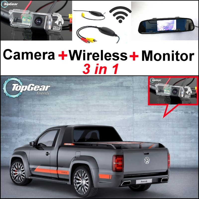 3 in1 Special Rear View Camera + Wireless Receiver + Mirror Monitor DIY Back Up Parking System For Volkswagen VW Amarok Robust 3 in1 special rear view camera wireless receiver mirror monitor back up parking system for honda jazz 5d 2002 2013