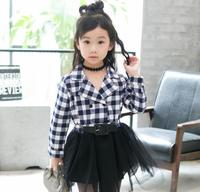 2016 Autumn and spring new girls plaid dress vest for babys girls cake ball gown cute lace dress children clothes